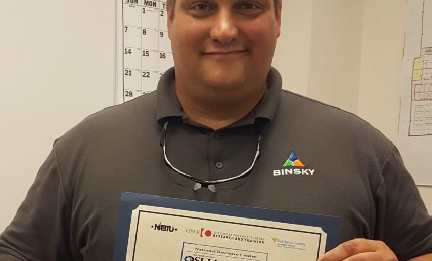 Congratulations to Member Chuck Ransiear on OSHA Trainer certification!